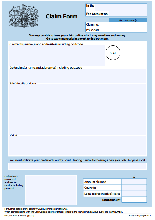 Just Claim N1 Claim Form – Civil Summons Form